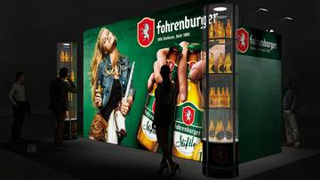 LightWall Beispiel Messestand isyWALL 120 LED Brauerei Fohrenburg